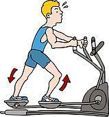 Man Exercising on Elliptical Machine