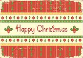 Christmas card.Vintage red green background