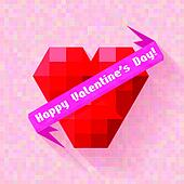 abstract heart banner valentine day