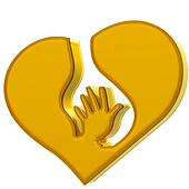 Hand heart symbol protection logo
