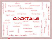 Cocktails Word Cloud Concept on a Whiteboard