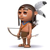 3d Native American Indian boy with bow and arrow