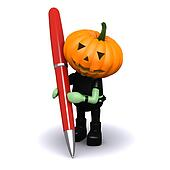 3d Pumpkin head with a pen