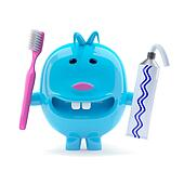 3d Odd blue creature with toothpaste and toothbrush