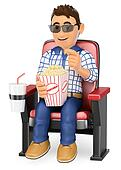 3D Young teen in the cinema with popcorn and drink