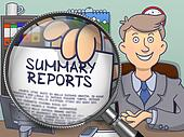 Summary Reports through Magnifier. Doodle Concept.