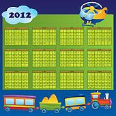 Calendar 2012 year for children. First day of week beginning on Sunday. Vector illustration.