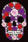 Floral Carnation And Violet Skull