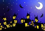 Halloween night city background