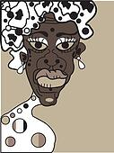 vector african woman, senior lady