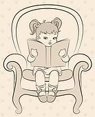 cartoon little girl with book