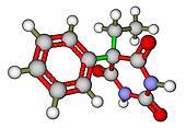 Phenobarbital (epilepsy drug) 3D molecular structure