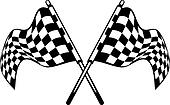 Waving crossed black and white checkered flags