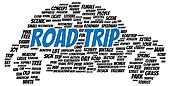 Road trip word cloud shape