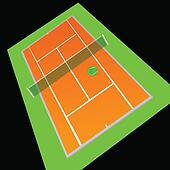 tennis court orange color vector illustration