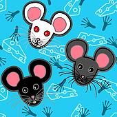 Seamless mice pattern over blue