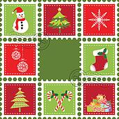 Set of Christmas stamp postage