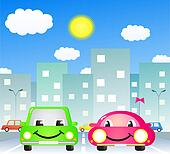 two cute car in city
