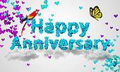 Happy Anniversary Blue Heart Shape
