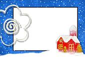 Christmas card with space for text snowy house