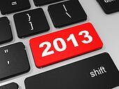 2013 new year key on keyboard.