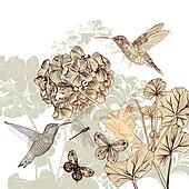 Floral background with flowers, birds and butterflies
