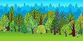 The illustration of cartoon forest.