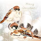 Christmas greeting card with snow and birds in watercolor style