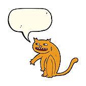 cartoon happy cat with speech bubble