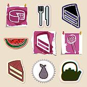 Hand drawn food and drink emblems set. Isolated