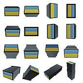 ukraine flags 3D Box with  mesh texture