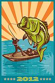 Fishing Poster Calendar 2012 Largemouth Bass