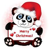 Christmas Panda with heart banner