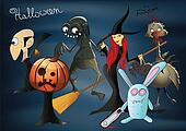 Halloween characters - pumpkiin, wicth, zombie, dracula, zombie chicken, evil rabbit vector illustration. Here ar eused meshes.