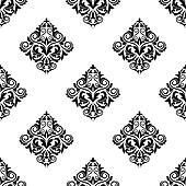 Damask-style arabesque seamless pattern