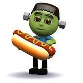 3d Frankenstein eats a hotdog