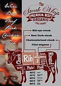 menu with a cow and steak card for restaurant menu