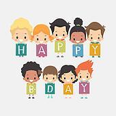 Cute Kids Happy Birthday Card