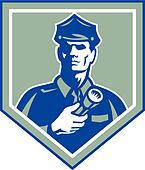 Security Guard Flashlight Shield Retro