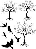silhouette vector, tree and birds