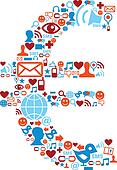 Social media icons set in euro symbol