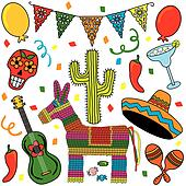 Mexican Fiesta Clipart icons