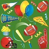 Fun football elements and icons
