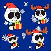 panda bear baby cartoon xmas set
