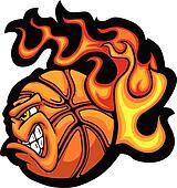Basketball Flaming  Ball Face Vecto