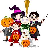 Halloween trick or treating childr