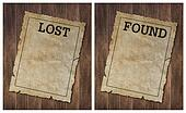 Lost Found poster on wood