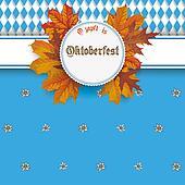 Oktoberfest Emblem Edelweiss Autumn Foliage