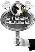 Steak House -  Sign with Hand of Chef
