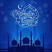 Ramadan Kareem dark blue illustration